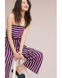 Maeve - Meja Strapless-striped Jumpsuit - Lyst