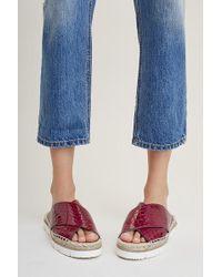KMB - Monae Croc-effect Leather Sandals - Lyst