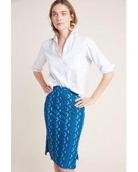 bf22a598e Anthropologie Landscape-printed Denim Skirt in Blue - Lyst