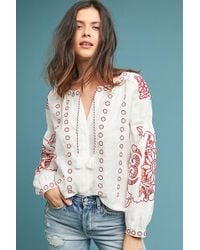 Anthropologie - Seabrook Linen Peasant Top - Lyst
