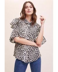 Lily and Lionel - Frankie Ruffled Leopard-print Shirt - Lyst