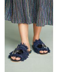 Bill Blass - Embroidered Denim Slide Sandals - Lyst