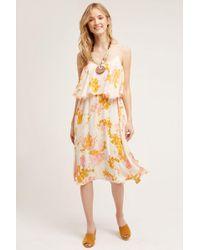 Paper Crown - Magnolia Floral Midi Dress, Yellow - Lyst