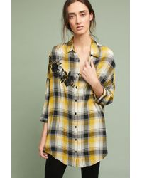 Maeve - Embroidered Plaid Buttondown - Lyst