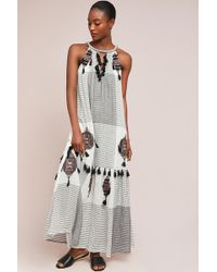 Maeve - Shuri Tasselled-embroidered Maxi Swing Dress - Lyst