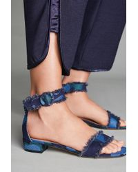 All Black | On The Fringe Frayed Heeled Sandals | Lyst