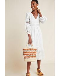 Anthropologie - Ebba Eyelet Midi Dress - Lyst