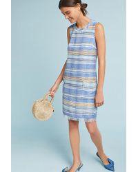 Anthropologie - Striped Tweed Shift Dress - Lyst