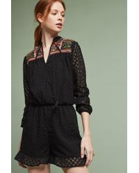 Harlyn - Evensong Embroidered Playsuit, Black - Lyst