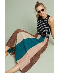 Ottod'Ame - Metallic Striped Maxi Knit Skirt - Lyst