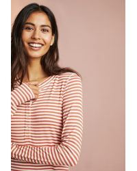 Anthropologie - Striped Henley Layering Tee - Lyst