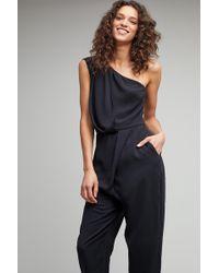 Just Female - Aurielle One Shoulder Jumpsuit, Black - Lyst