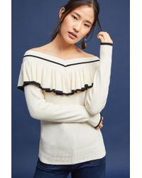 Knitted & Knotted - Ruffled Off-the-shoulder Pullover - Lyst
