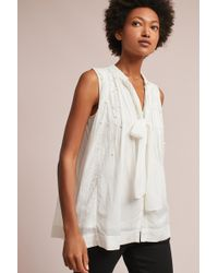 Feather & Bone - Leonie Pearled Tie-neck Blouse, Ivory - Lyst