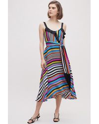 Anthropologie - Beatrice B Janet Striped-ruffled Silk Dress - Lyst