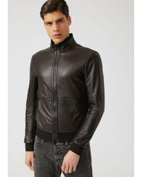 Emporio Armani - Leather Jacket - Lyst