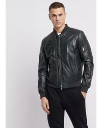 2acea94b5c2 Lyst - BOSS Shearling-trim Leather Jacket in Black for Men