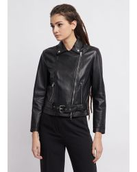 Emporio Armani - Leather Biker Jacket - Lyst