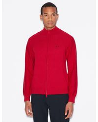 Armani Exchange Mock-neck Knitted Zip-up Sweater - Red