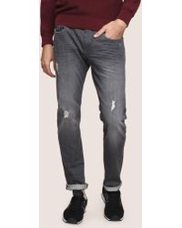Armani Exchange - Slim-fit Destroyed Grey Jeans - Lyst