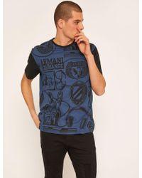 Armani Exchange - Loose-fit Collegiate Print Crewneck Tee - Lyst