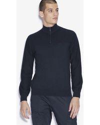 Armani Exchange Mock-neck Quarter-zip Knitted Sweater - Blue