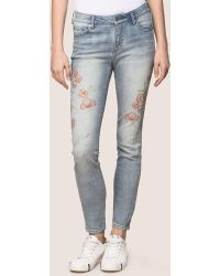 Armani Exchange - Floral Embroidered Super-skinny Jean - Lyst