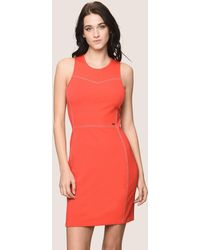 Armani Exchange - Seamed Topstitch Bodycon Dress - Lyst