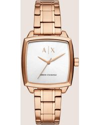 Armani Exchange - Rose Gold-toned Square Bracelet Watch - Lyst