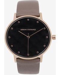 Armani Exchange - Quilted-face Taupe Leather Band Watch - Lyst