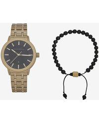 Armani Exchange - Gold-toned Bracelet Watch With Coordinating Bracelet Set - Lyst