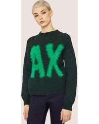 Armani Exchange - Furry Logo Wool-blend Sweater - Lyst