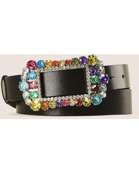 Armani Exchange - Rhinestone Buckle Belt - Lyst