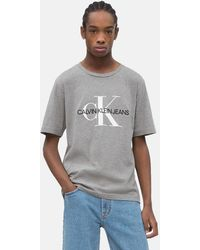 8dda6bcd220d Calvin Klein Side Logo T-shirt in Blue for Men - Lyst