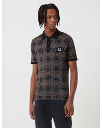 Fred Perry - X Raf Simons Jacquard Knit Polo Shirt - Lyst
