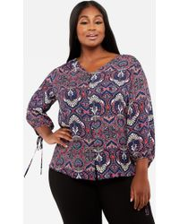 4ef390cf044 Lyst - Ashley Stewart Plus Size Printed V Neck Button Blouse in Purple