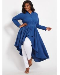 d018aac220b7d Lyst - Ashley Stewart Plus Size Denim Ruched Belted Peplum Top in Blue