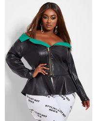 e0d2a97bddcb7 Ashley Stewart - Plus Size Off The Shoulder Faux Leather Jacket - Lyst