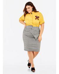 634bfa82f46c3 Ashley Stewart - Plus Size Bow Front Plaid Pencil Skirt - Lyst
