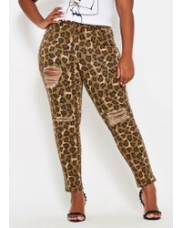 bdc3616215b Ashley Stewart - Plus Size Destructed Leopard Skinny Jean - Lyst