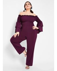 b2bfb35fc681 Lyst - Ashley Stewart Plus Size Tiered Off The Shoulder Jumpsuit in Red
