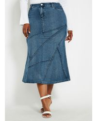 fd5ff446855d8 Ashley Stewart - Plus Size Denim Skirt With Stitching Detail - Lyst