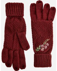 Ashley Stewart | Floral Embroidered Knit Gloves | Lyst