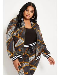 a470679071d Lyst - Jou Jou Plus Size Faux-Leather Floral-Print Jacket in Black