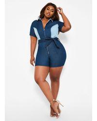 f24201344499 Lyst - Ashley Stewart Plus Size The Vivian Romper in Black