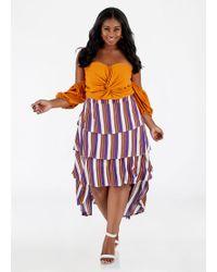 539b46ae76 Lyst - Ashley Stewart Plus Size Striped Linen Hi Lo Midi Skirt