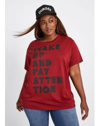 6e73618cc3b7b Ashley Stewart - Plus Size Dubgee By Whoopi Wake Up And Pay Attention Graphic  Tee -