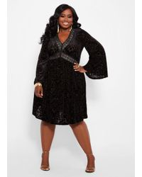 1f3abc3fc764f Ashley Stewart - Plus Size Burnout Velvet V Neck Dress - Lyst