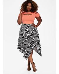 Ashley Stewart - Plus Size Uneven Hem Multi Striped Skirt - Lyst