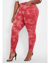 dd61b0d964382 Ashley Stewart - Plus Size Red Tie Dye Tonal Skinny Jean - Lyst